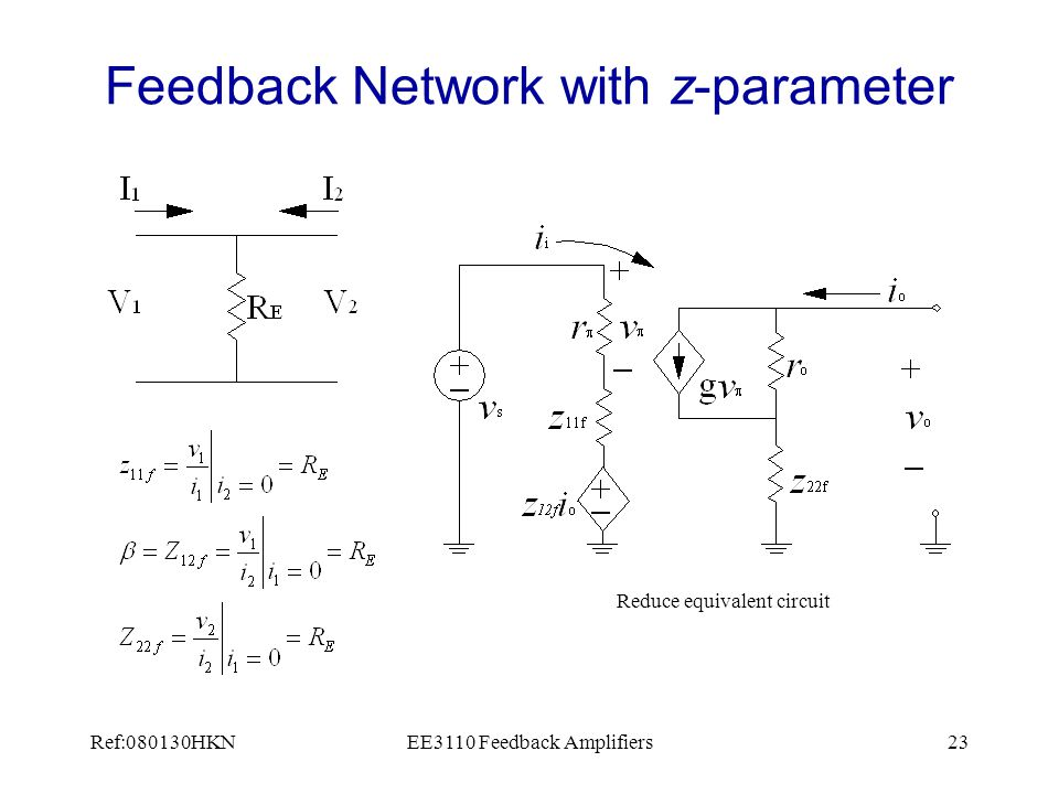 Ref:080130HKNEE3110 Feedback Amplifiers23 Feedback Network with z-parameter Reduce equivalent circuit