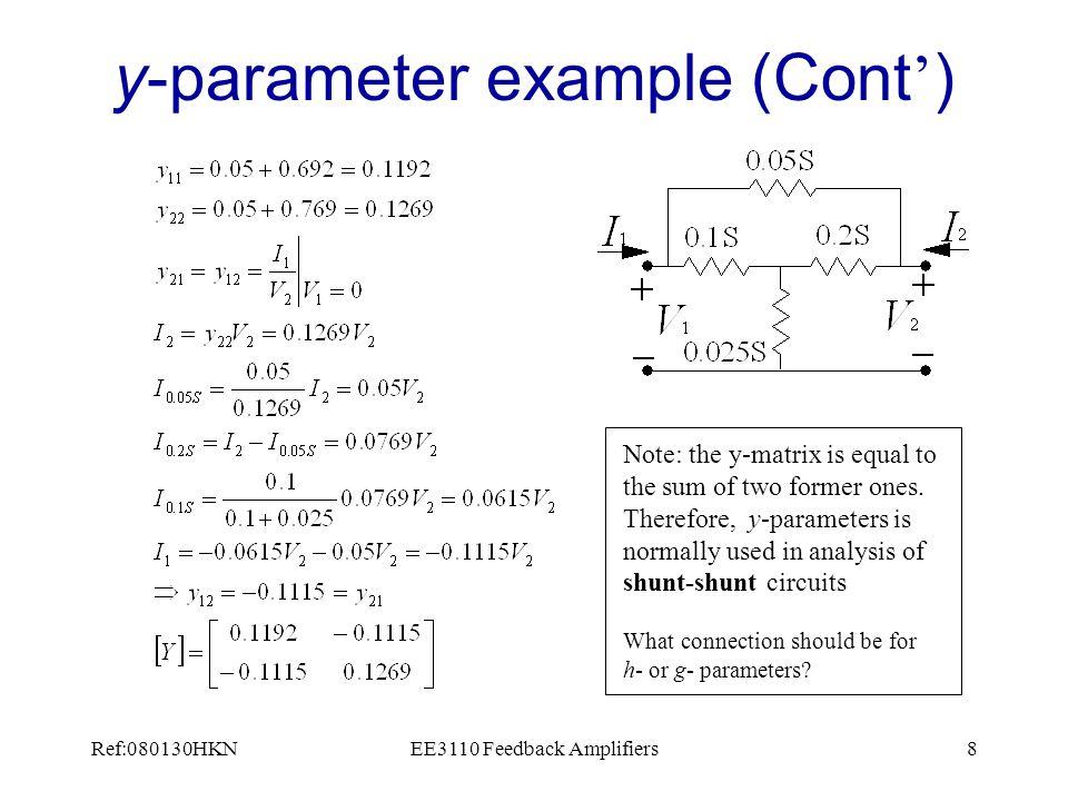 Ref:080130HKNEE3110 Feedback Amplifiers29 Feedback Network y-parameter modeling