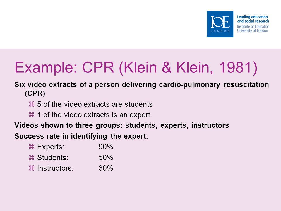 Example: CPR (Klein & Klein, 1981) Six video extracts of a person delivering cardio-pulmonary resuscitation (CPR) 5 of the video extracts are students 1 of the video extracts is an expert Videos shown to three groups: students, experts, instructors Success rate in identifying the expert: Experts:90% Students:50% Instructors:30%