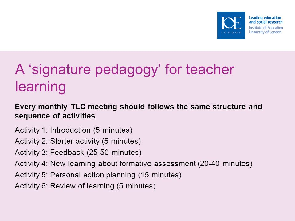 A signature pedagogy for teacher learning Every monthly TLC meeting should follows the same structure and sequence of activities Activity 1: Introduct