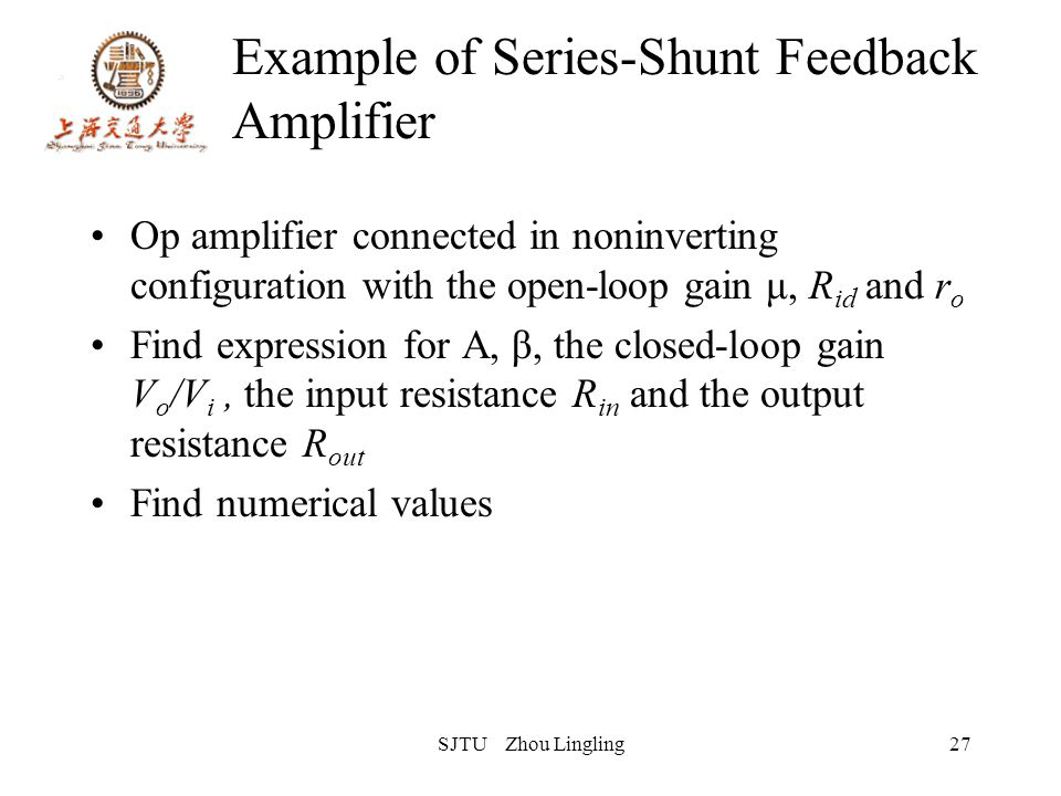 SJTU Zhou Lingling27 Example of Series-Shunt Feedback Amplifier Op amplifier connected in noninverting configuration with the open-loop gain μ, R id a