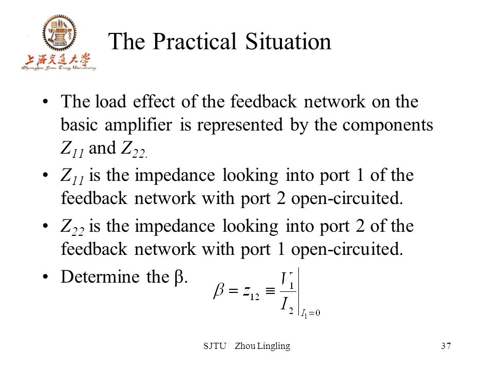 SJTU Zhou Lingling37 The Practical Situation The load effect of the feedback network on the basic amplifier is represented by the components Z 11 and
