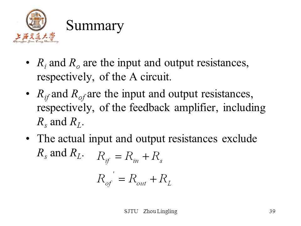 SJTU Zhou Lingling39 Summary R i and R o are the input and output resistances, respectively, of the A circuit. R if and R of are the input and output