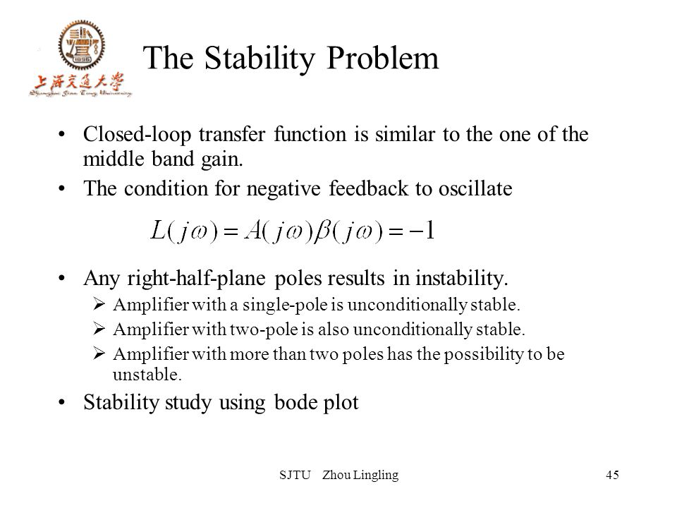 SJTU Zhou Lingling45 The Stability Problem Closed-loop transfer function is similar to the one of the middle band gain. The condition for negative fee