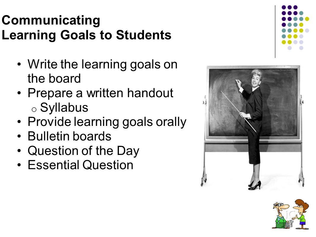 Communicating Learning Goals to Students Write the learning goals on the board Prepare a written handout o Syllabus Provide learning goals orally Bull