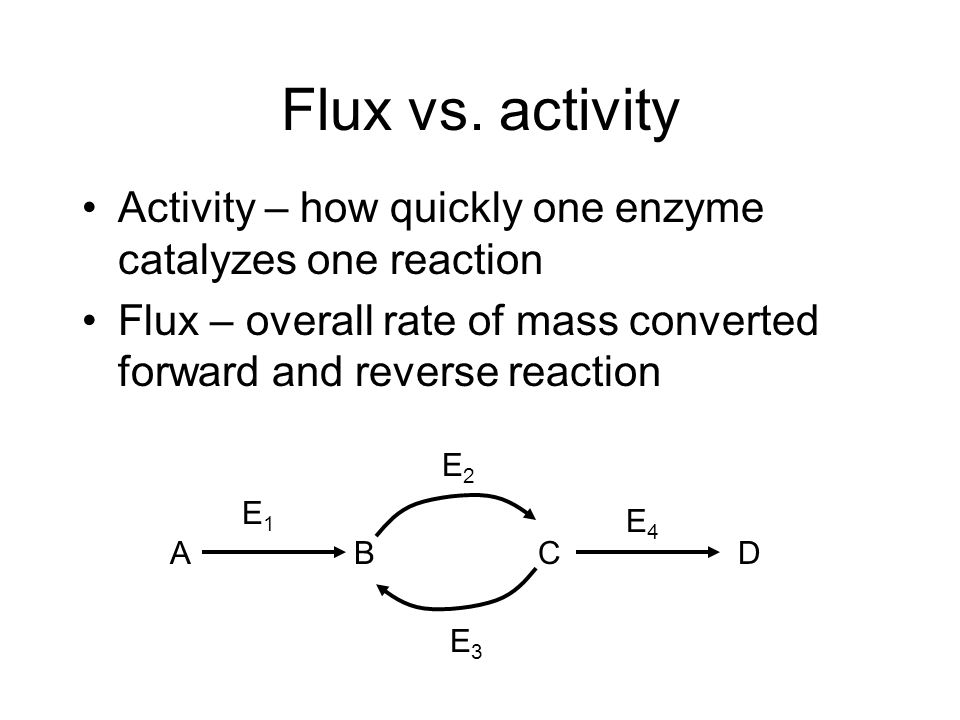 Flux vs. activity Activity – how quickly one enzyme catalyzes one reaction Flux – overall rate of mass converted forward and reverse reaction ABC E1E1