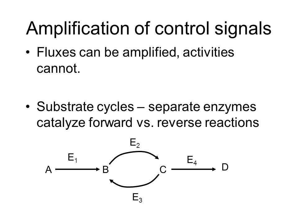 Amplification of control signals Fluxes can be amplified, activities cannot. Substrate cycles – separate enzymes catalyze forward vs. reverse reaction