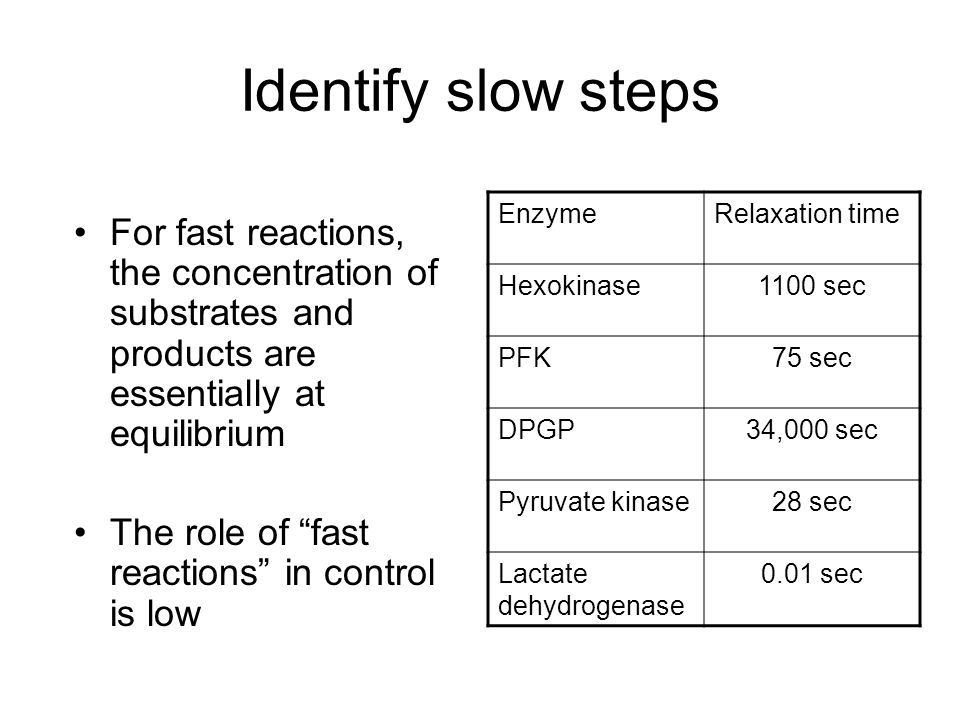 Identify slow steps For fast reactions, the concentration of substrates and products are essentially at equilibrium The role of fast reactions in cont