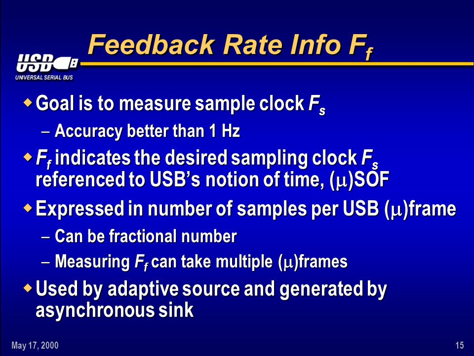 May 17, 200015 Feedback Rate Info F f w Goal is to measure sample clock F s – Accuracy better than 1 Hz w F f indicates the desired sampling clock F s