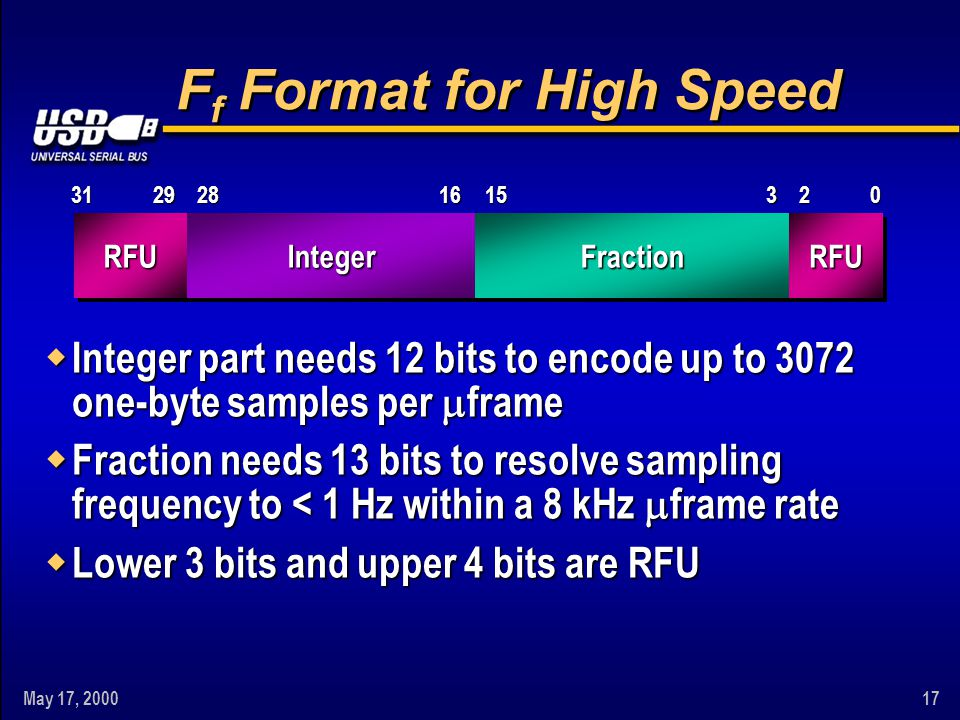 May 17, 200017 IntegerFractionRFURFU0281516232931 F f Format for High Speed w Integer part needs 12 bits to encode up to 3072 one-byte samples per fra