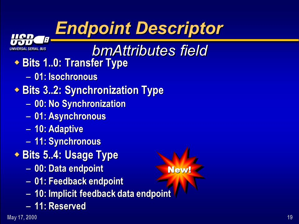 May 17, 200019 Endpoint Descriptor w Bits 1..0: Transfer Type – 01: Isochronous w Bits 3..2: Synchronization Type – 00: No Synchronization – 01: Async