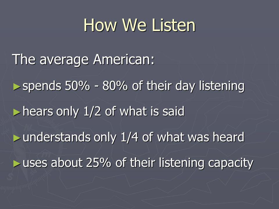 How We Listen The average American: spends 50% - 80% of their day listening spends 50% - 80% of their day listening hears only 1/2 of what is said hea