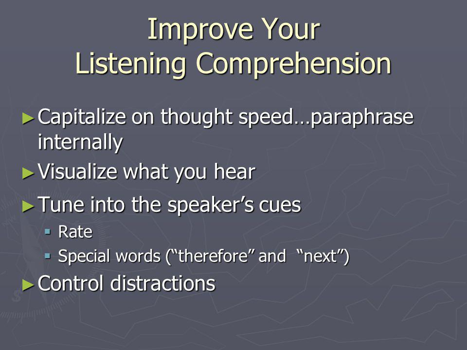 Improve Your Listening Skills Paraphrase what you heard to the speaker…and ask if youre correct Paraphrase what you heard to the speaker…and ask if youre correct Ask questions Ask questions Ask for more detail on something not understood Ask for more detail on something not understood Ask for more information to learn more Ask for more information to learn more Maintain appropriate eye contact and body orientation Maintain appropriate eye contact and body orientation Use verbal encouragers Use verbal encouragers