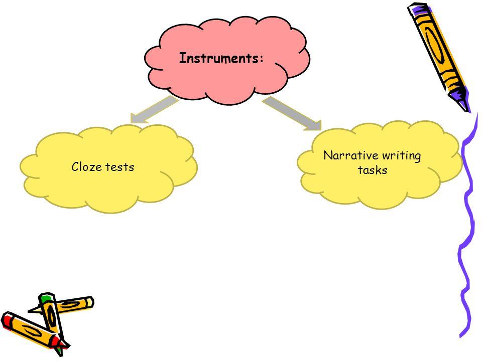 Instruments: Narrative writing tasks Cloze tests