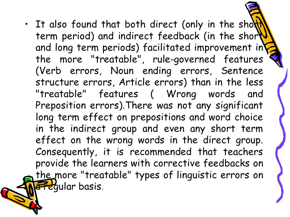 It also found that both direct (only in the short term period) and indirect feedback (in the short and long term periods) facilitated improvement in t