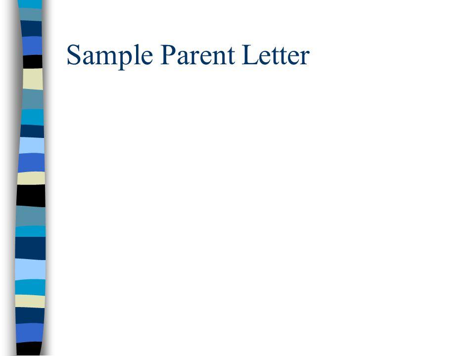 Sample Parent Letter