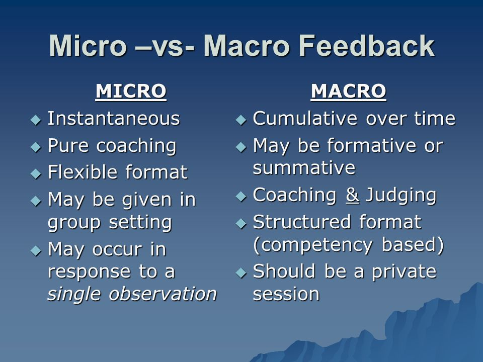 Micro –vs- Macro Feedback MICRO Instantaneous Instantaneous Pure coaching Pure coaching Flexible format Flexible format May be given in group setting