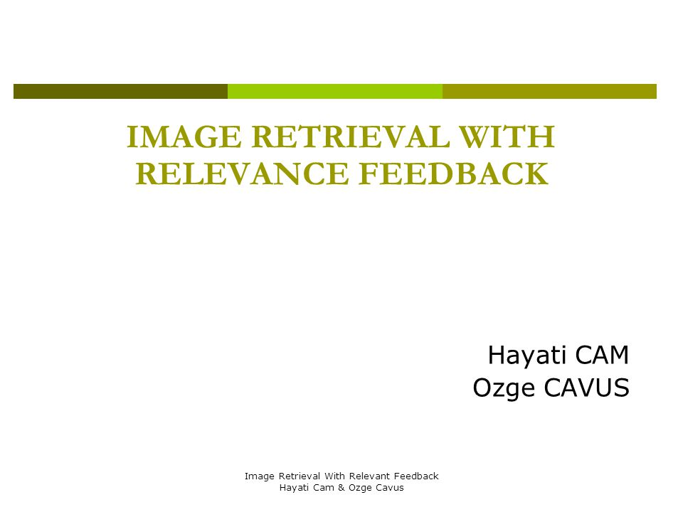 Image Retrieval With Relevant Feedback Hayati Cam & Ozge Cavus IMAGE RETRIEVAL WITH RELEVANCE FEEDBACK Hayati CAM Ozge CAVUS