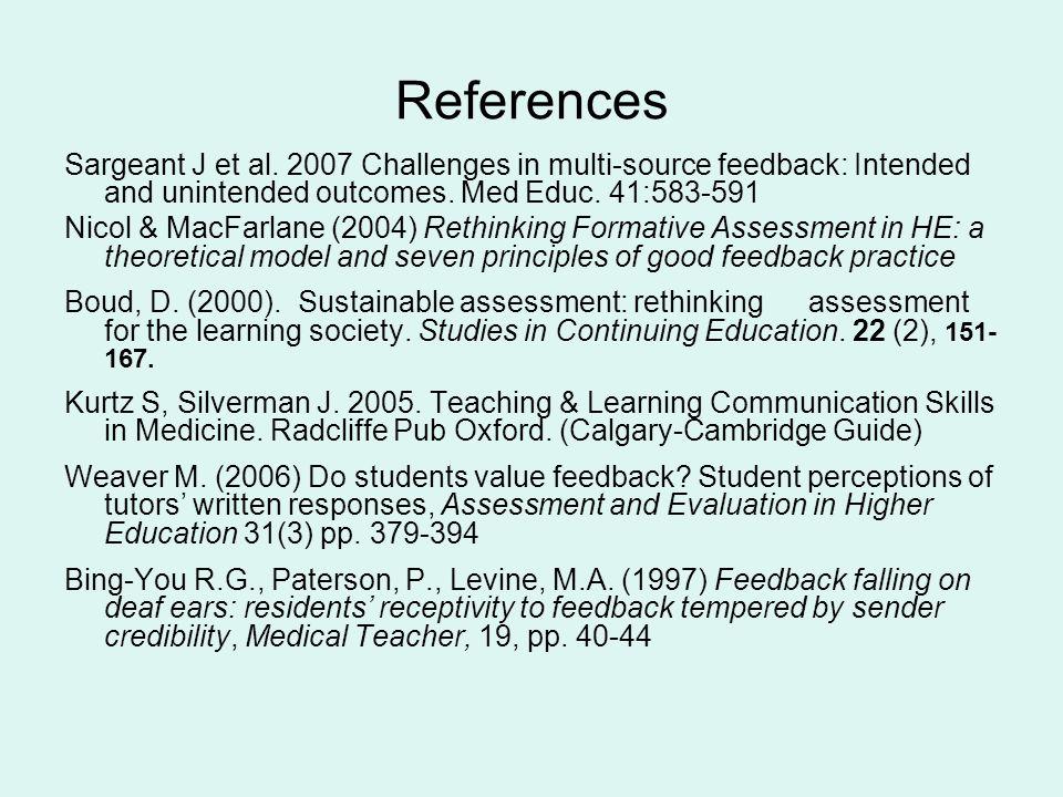 References Sargeant J et al.