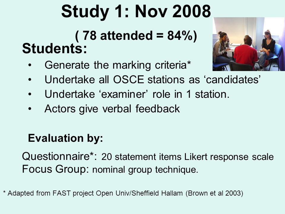Study 1: Nov 2008 ( 78 attended = 84%) Students: Generate the marking criteria* Undertake all OSCE stations as candidates Undertake examiner role in 1 station.