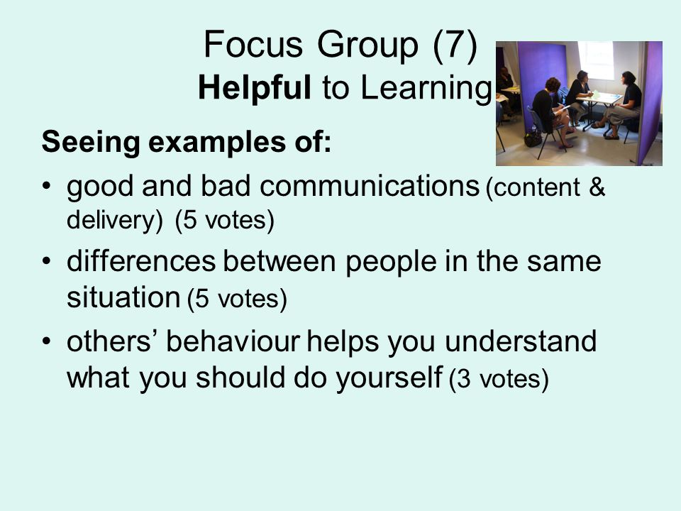 Focus Group (7) Helpful to Learning Seeing examples of: good and bad communications (content & delivery) (5 votes) differences between people in the same situation (5 votes) others behaviour helps you understand what you should do yourself (3 votes)