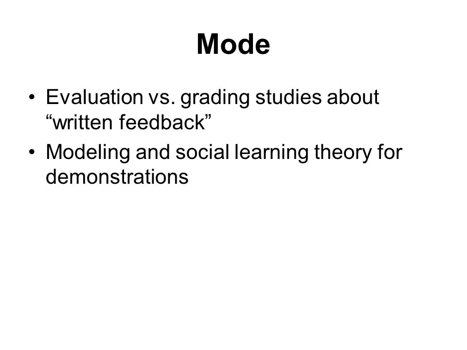Mode Evaluation vs. grading studies about written feedback Modeling and social learning theory for demonstrations