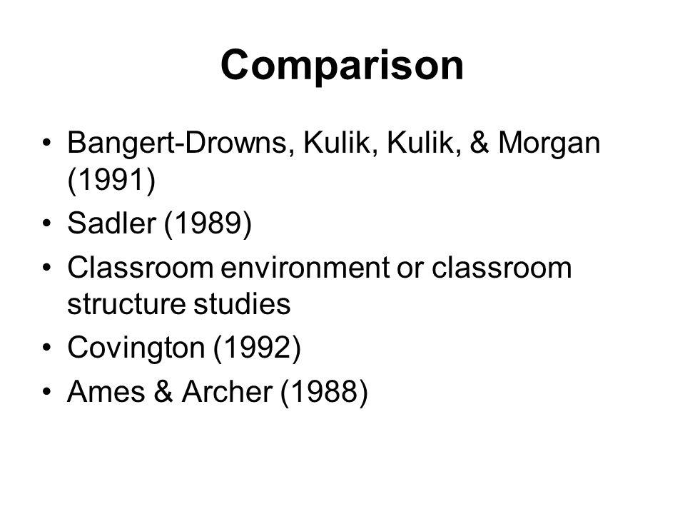 Comparison Bangert-Drowns, Kulik, Kulik, & Morgan (1991) Sadler (1989) Classroom environment or classroom structure studies Covington (1992) Ames & Ar