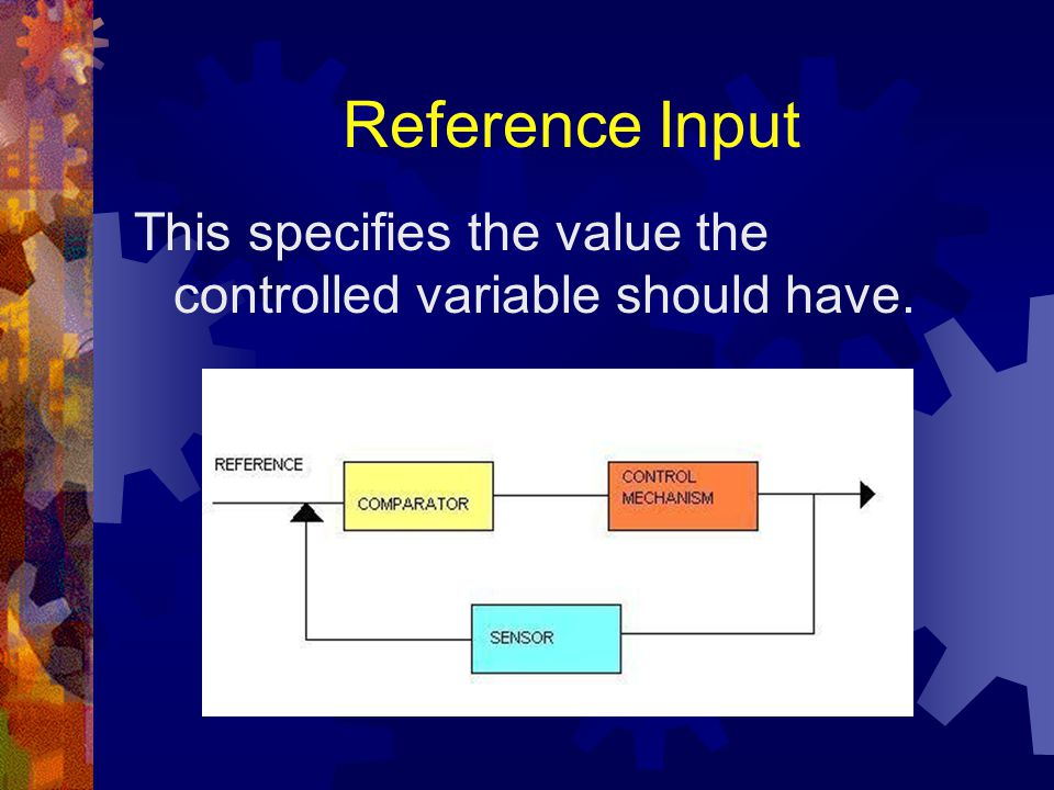 Reference Input This specifies the value the controlled variable should have.