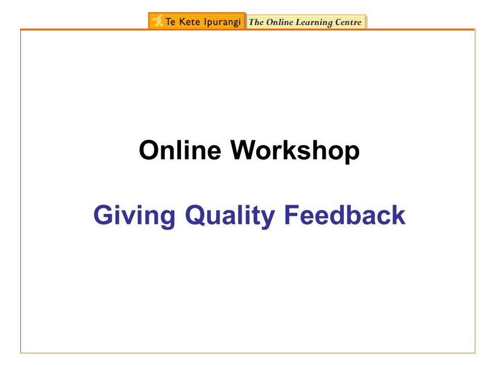 Online Workshop Giving Quality Feedback