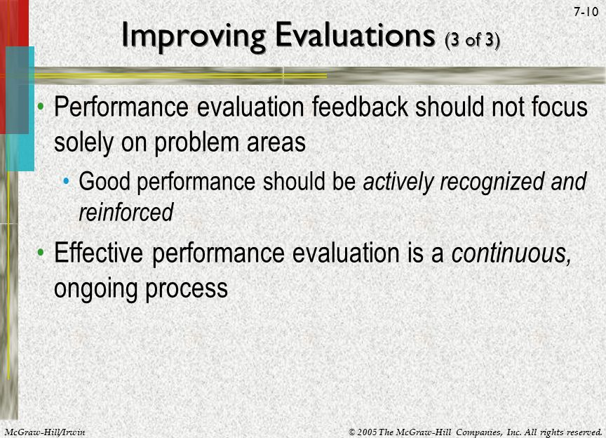 McGraw-Hill/Irwin© 2005 The McGraw-Hill Companies, Inc. All rights reserved. 7-10 Improving Evaluations (3 of 3) Performance evaluation feedback shoul