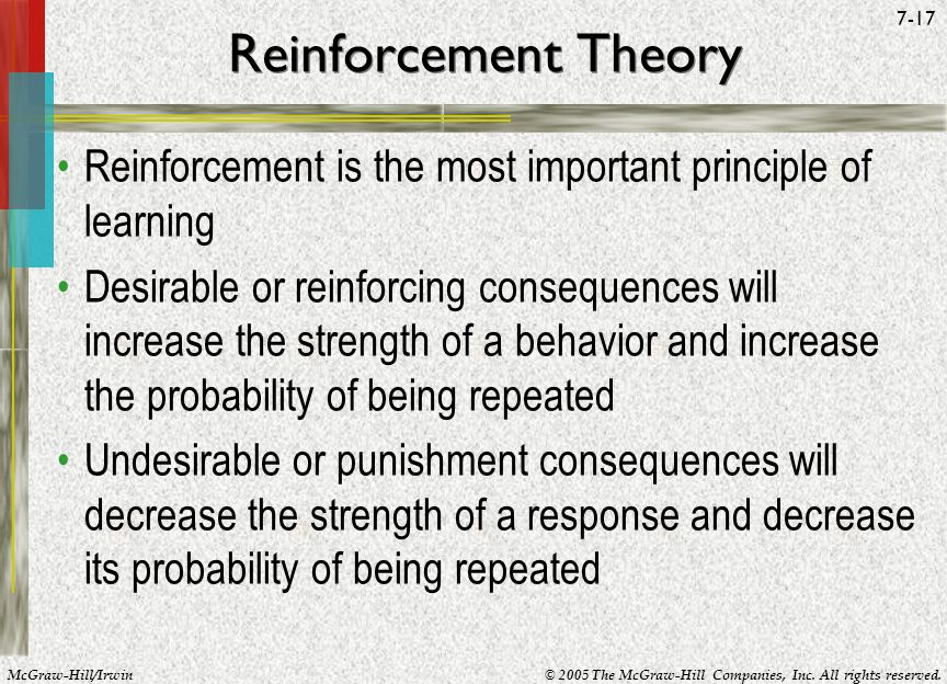 McGraw-Hill/Irwin© 2005 The McGraw-Hill Companies, Inc. All rights reserved. 7-17 Reinforcement Theory Reinforcement is the most important principle o