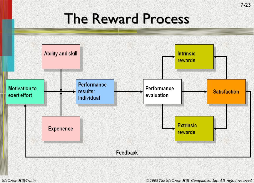 McGraw-Hill/Irwin© 2005 The McGraw-Hill Companies, Inc. All rights reserved. 7-23 The Reward Process Feedback Motivation to exert effort Ability and s