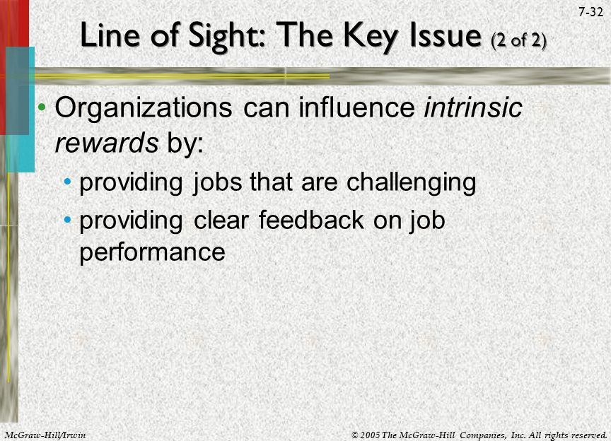 McGraw-Hill/Irwin© 2005 The McGraw-Hill Companies, Inc. All rights reserved. 7-32 Line of Sight: The Key Issue (2 of 2) Organizations can influence in