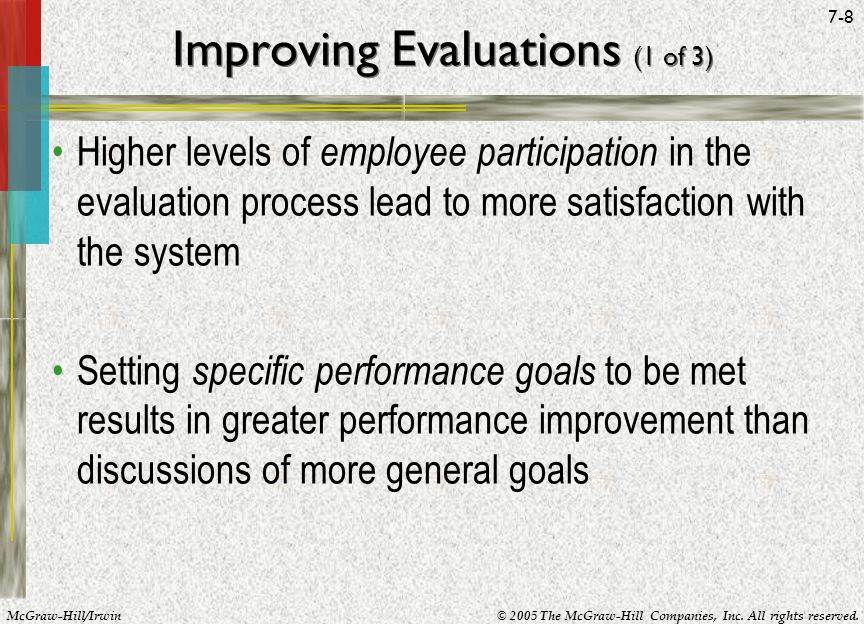 McGraw-Hill/Irwin© 2005 The McGraw-Hill Companies, Inc. All rights reserved. 7-8 Improving Evaluations (1 of 3) Higher levels of employee participatio