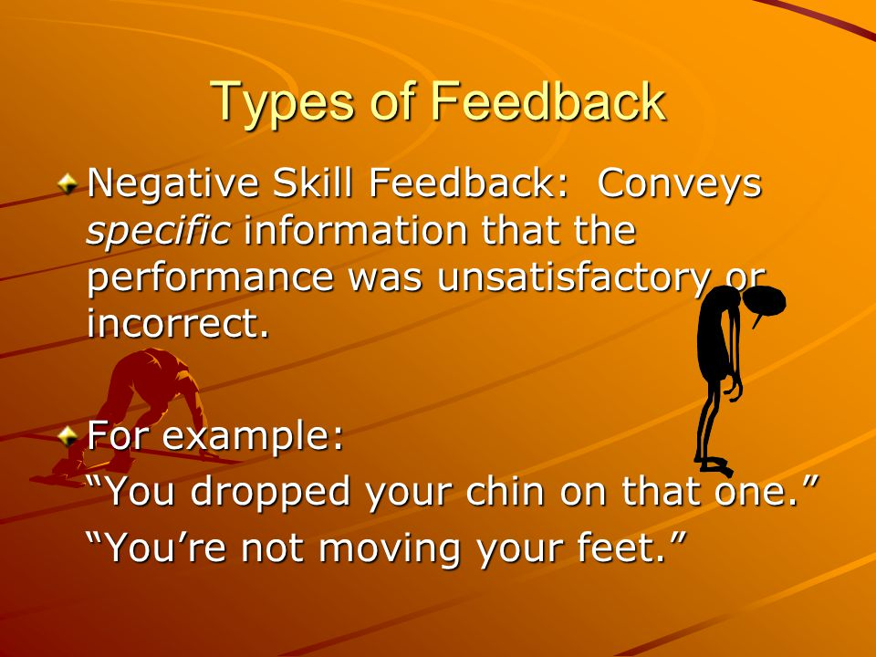 Types of Feedback Negative Behavior: Conveys a negative feeling about students behavior. For example: You are not doing what I asked you to do. Youre