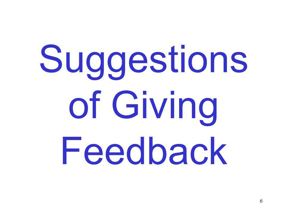6 Suggestions of Giving Feedback