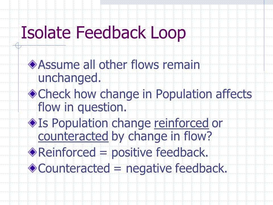 Isolate Feedback Loop Assume all other flows remain unchanged.