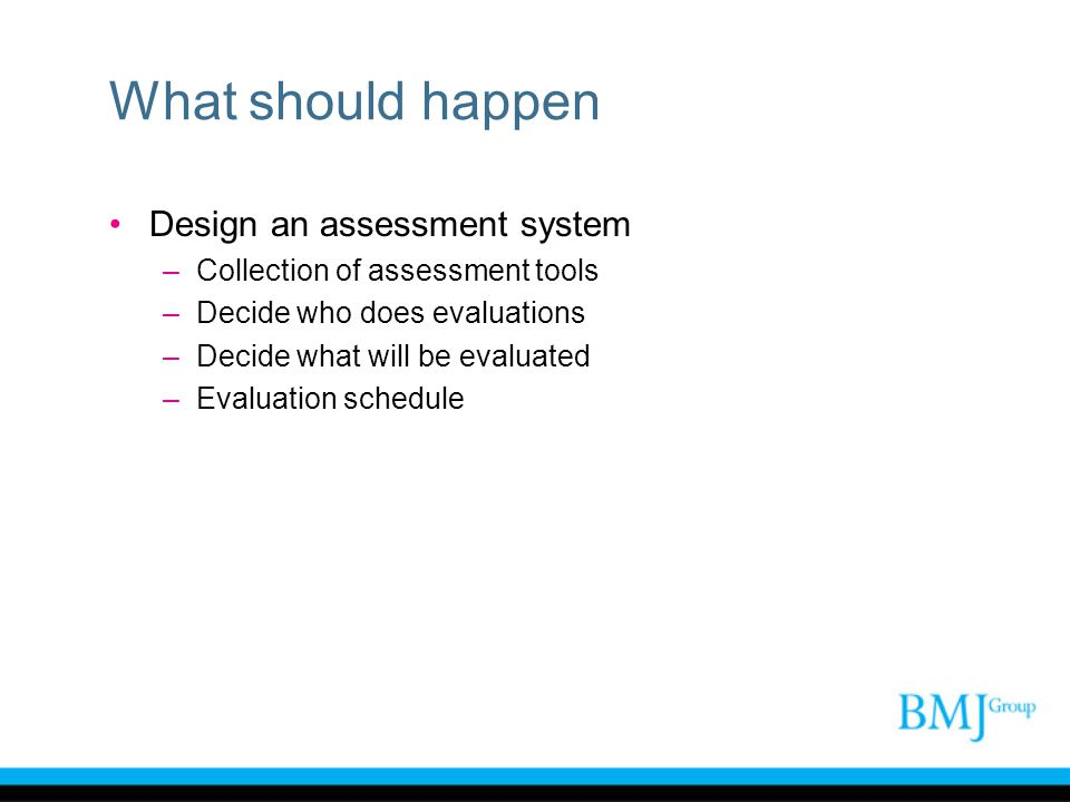 What should happen Design an assessment system –Collection of assessment tools –Decide who does evaluations –Decide what will be evaluated –Evaluation