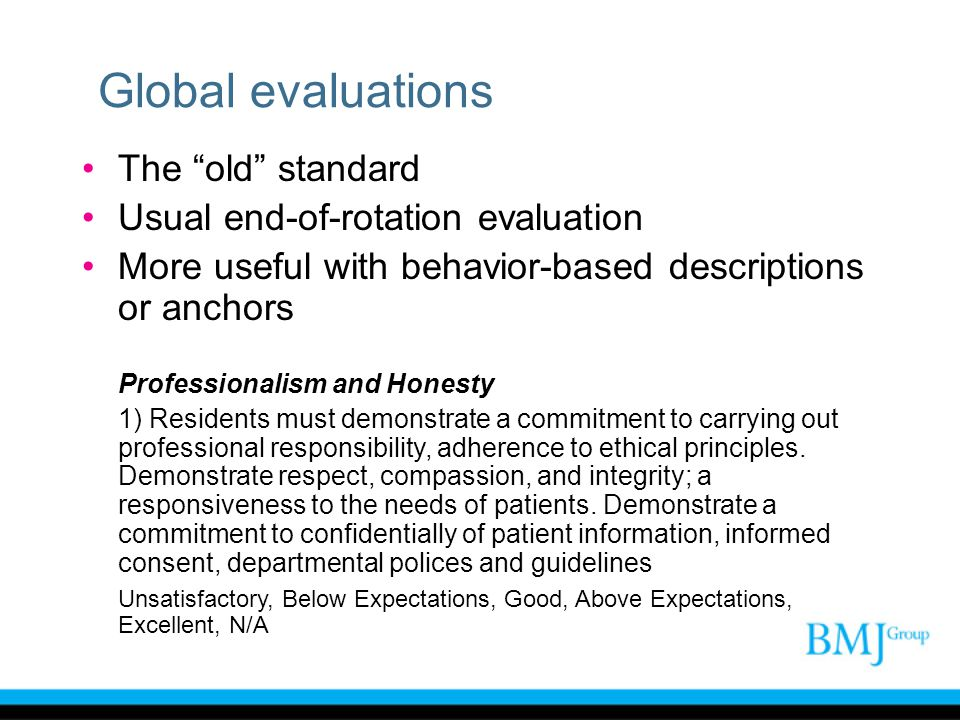 Global evaluations The old standard Usual end-of-rotation evaluation More useful with behavior-based descriptions or anchors Professionalism and Hones