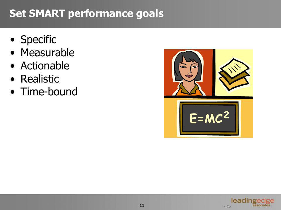 11 Set SMART performance goals Specific Measurable Actionable Realistic Time-bound