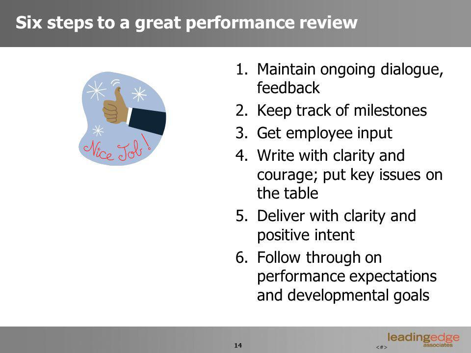 14 Six steps to a great performance review 1.Maintain ongoing dialogue, feedback 2.Keep track of milestones 3.Get employee input 4.Write with clarity and courage; put key issues on the table 5.Deliver with clarity and positive intent 6.Follow through on performance expectations and developmental goals