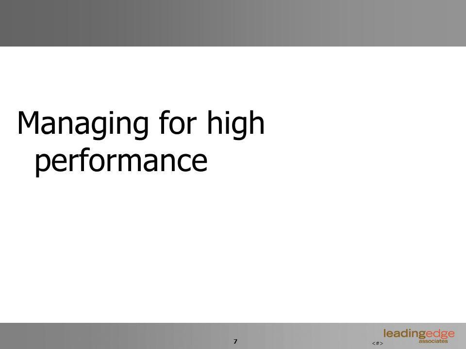 7 Managing for high performance