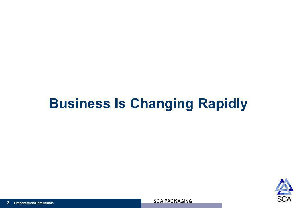 SCA PACKAGING 2 Presentation/Date/Initials Business Is Changing Rapidly