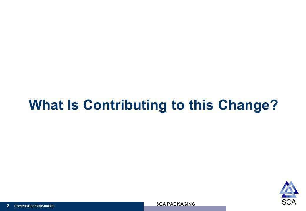 SCA PACKAGING 3 Presentation/Date/Initials What Is Contributing to this Change