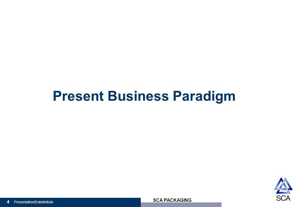 SCA PACKAGING 4 Presentation/Date/Initials Present Business Paradigm