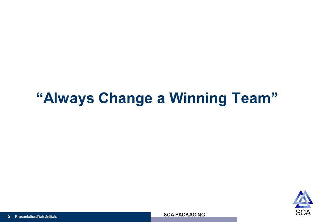 SCA PACKAGING 5 Presentation/Date/Initials Always Change a Winning Team
