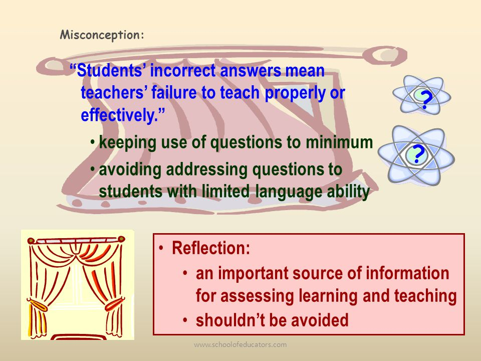 ? Students incorrect answers mean teachers failure to teach properly or effectively. keeping use of questions to minimum avoiding addressing questions