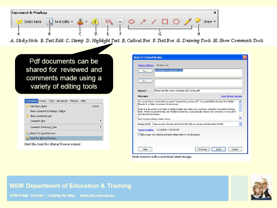 NSW Department of Education & Training NSW Public Schools – Leading the Way www.det.nsw.edu.au Pdf documents can be shared for reviewed and comments m