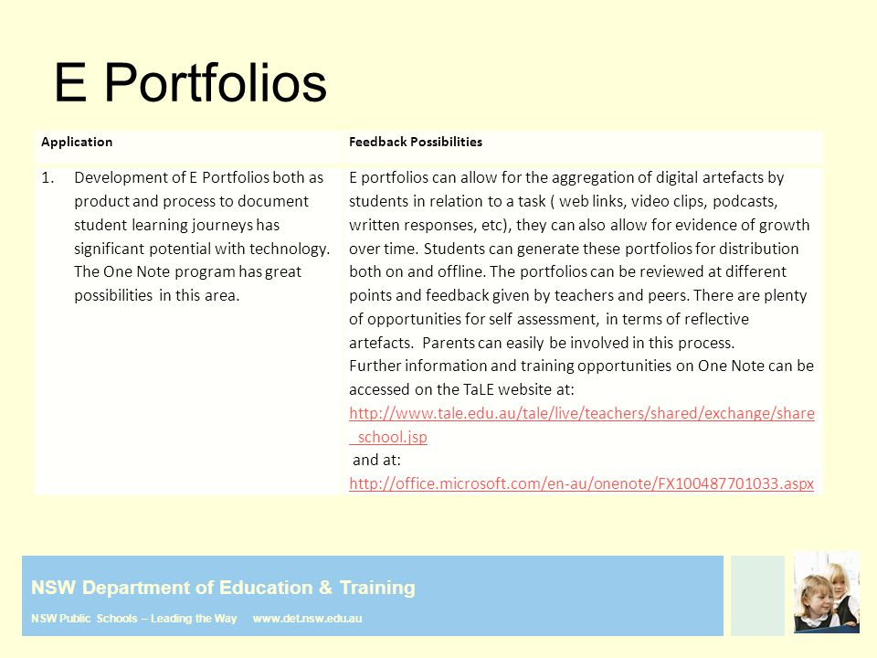 NSW Department of Education & Training NSW Public Schools – Leading the Way www.det.nsw.edu.au E Portfolios ApplicationFeedback Possibilities 1.Development of E Portfolios both as product and process to document student learning journeys has significant potential with technology.