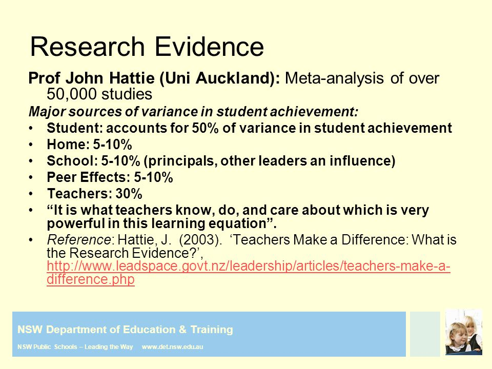 NSW Department of Education & Training NSW Public Schools – Leading the Way www.det.nsw.edu.au Prof John Hattie (Uni Auckland): Meta-analysis of over